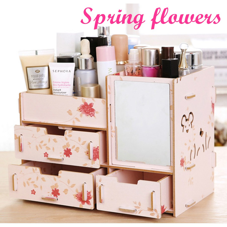 Wooden Make Up Organiser With Mirror